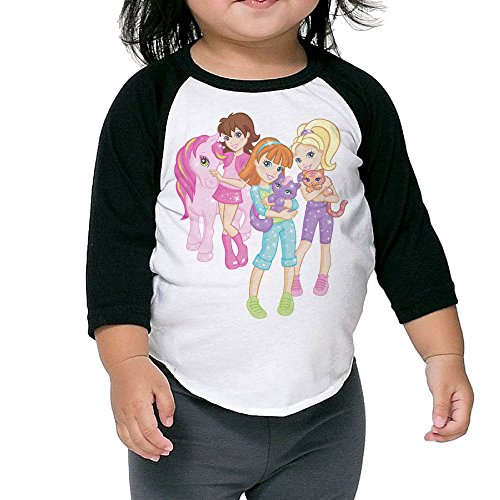 My Little Pony Polly Pocket With Polka Dots Free Party Raglan Tee Toddler Soft Cotton Long Sleeve 3/4 Unisex Hot