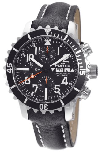 Fortis Men's 671.10.41L.01 B-42 Marinemaster Automatic Chronograph Black Dial Watch