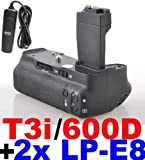 Battery Grip for Canon EOS 550D 600D/Rebel T2i T3i Camera+2x Canon LP-E8 Compatible Li-ion Battery + Remote for Canon RS-60E3