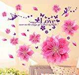 StickersKart Wall Stickers Dreamy Pink Flowers Blowing (Wall Covering Area: 110cm x 110cm)