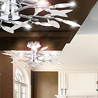 Design Decken Lampe satiniert Dekor Linien Bar Hotel Zimmer Beleuchtung  2-flg