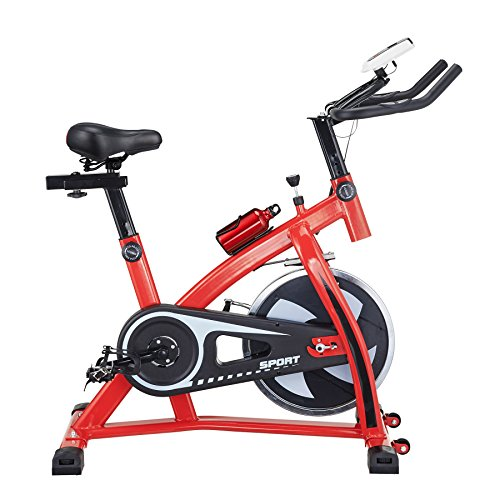 Pinty Pro Stationary Upright Exercise Bike Indoor Cycling Gym Cardio Trainer with LCD Monitor & Water Bottle