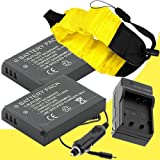 Two LI-50B Lithium Ion Replacement Battery w/Charger and Waterproof Floating Strap for Olympus Stylus Tough TG-610, Tough TG-810, Tough 6000, Tough 6020, Tough 8000, Tough 8010 DavisMAX Accessory Bundle