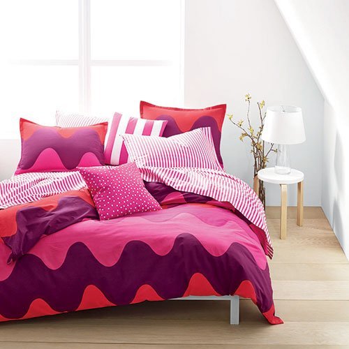 Marimekko Lokki Pink Purple Wave Full/Queen Comforter Set