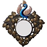 Divraya Wood Peacock Wall Mirror (58.42 Cm X 4 Cm X 58.42 Cm)