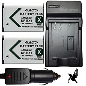 Two Halcyon 1800 mAH Lithium Ion Replacement Battery and Charger Kit for Sony Cyber-shot DSC-HX300 20.4MP Digital Camera and Sony NP-BX1