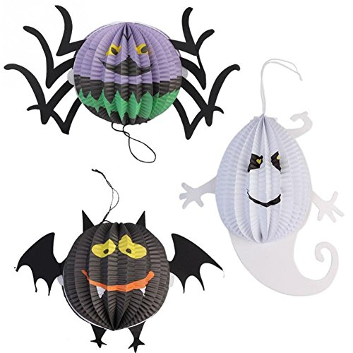 Ixiang Halloween Ghost Bat Spider Paper Lanterns Decorated Props