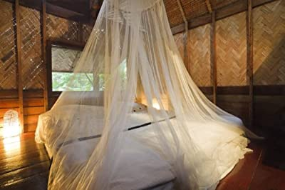 Mosquito Nets 4 U® Mosquito Net Bed Canopy 12 Meter Full Coverage Protection for Holiday & Home. Non Skin Irritation. 156 holes per square inch. Fits up to Kingsize bed. Free Mosquito Nets 4 U Drawstring Bag.