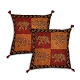 Cushion Pillow Cases Embroidered Cotton Fabric Set of 2 Handmade from India 41 x 41 cmsby DakshCraft