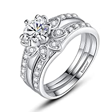 buy Bamoer Set Of 2 White Gold Plated Brass Lover Finger Rings Aaa Colorful Cubic Zirconia Cz Flower Jewelry Ring (6)