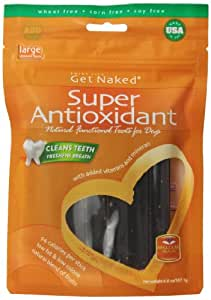 Get Naked Super Antioxidant Dental Chew Sticks for Dogs, Large/6.6-Ounce, 6 sticks/Pack
