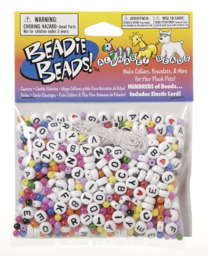 Darice BAB-15 Black and White Alpha Bead Starter Kit with Multicolored Space Beads