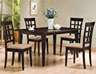 5 PC Espresso Brown 4 Person Table and Chairs Brown Dining Dinette - Espresso Brown and Beige Chair Waffle Back