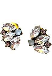 Sorrelli White Pink Multi Crystal Stud Antique Gold-tone Earrings