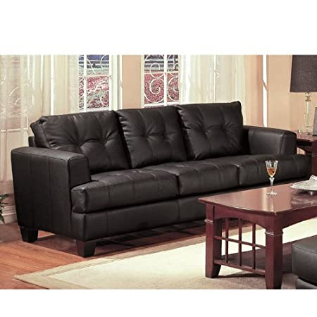 Samuel Contemporary Bonded Leather Sofa with Wood Feet