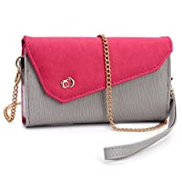Grey / Hot Pink Universal Wristlet Women's Tri-Fold Convertible Wallet Crossbody Style [Link Series] for Pantech...