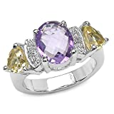 3.90 Carat Genuine Amethyst, Citrine & White Topaz Sterling Silver Ring