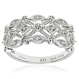 Ariel Women's Diamond Ring, 9 Carat White Gold Ornately set with White Diamonds