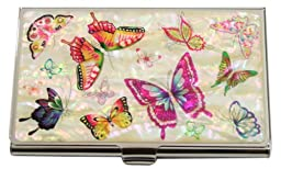 Mother of Pearl White Butterfly Flower Design Metal Stainless Steel Business Credit Name Id Card Holder Case Organizer Wallet