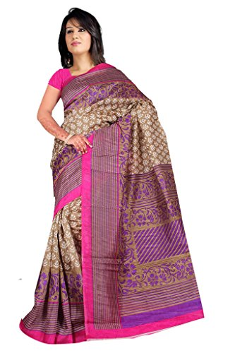 A G Lifestyle Beige & Pink Bhagalpuri Silk Saree With Unstitched Blouse AGB11003