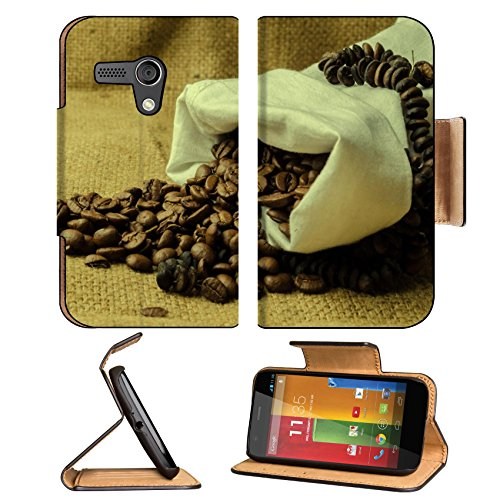 Coffee Beans In Burlap Sack 3Dcom Motorola Moto G Flip Cover Case With Card Holder Customized Made To Order Support Ready Premium Deluxe Pu Leather