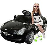 Black Mercedes Benz Sls R/c Mp3 Kids Ride on Car Electric Battery Toy