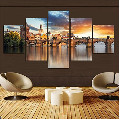 5-piece-home-decor-beautiful-castle-printed-on-canvas-oil-painting-wall-art-picture-for-living-room