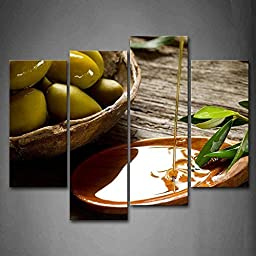 Modern Home Decoration painting Olive And Oil With Green Leaf Pictures Print On Canvas Food The Picture
