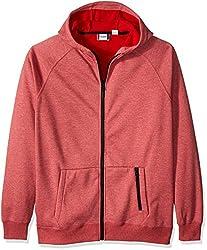 Cutter & Buck Men's Lund Fleece Zip Hoodie, Red, Medium