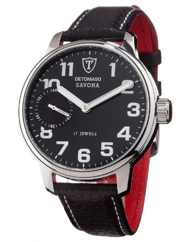 DeTomaso Men's Automatic Watch SAVONA Edelstahl Lederarmband Schwarz Handaufzug DT1028-A DT1028-A with Leather Strap