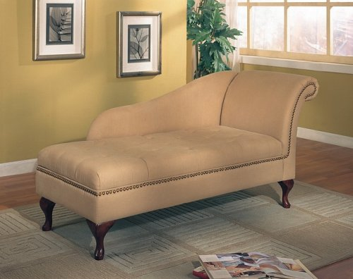 Tan Microfiber Chaise Lounger with Storage Space