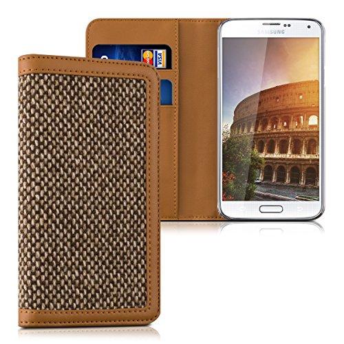 kalibri-Wallet-Case-Hlle-Donna-fr-Samsung-Galaxy-S5-S5-Neo-S5-LTE-S5-Duos-Cover-Flip-Tweed-Kunstleder-Tasche-mit-Kartenfach-in-Braun
