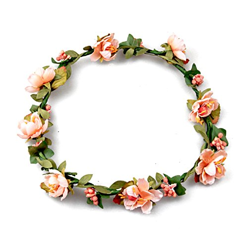 Floral Fall BOHO Headband Flower Crown Festival Wedding Beach Hair Wreath F-01 (Orange)