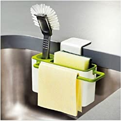 ShopAIS Self Draining Sink Tidy with suction cup Organizer Brush Sponge Cleaning Cloth Holder kitchen draining dishs rack Self Draining Sink Caddy With Brush Holder - Works With All Sinks - Double, Single, Bowl, Commercial, Restaurant And Utility?Color:White and Green