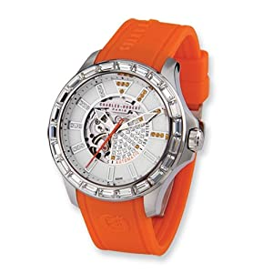 Stainless Steel Orange Strap Automatic Watch by Charles Hubert Paris Watches, Best Quality Free Gift Box Satisfaction Guaranteed