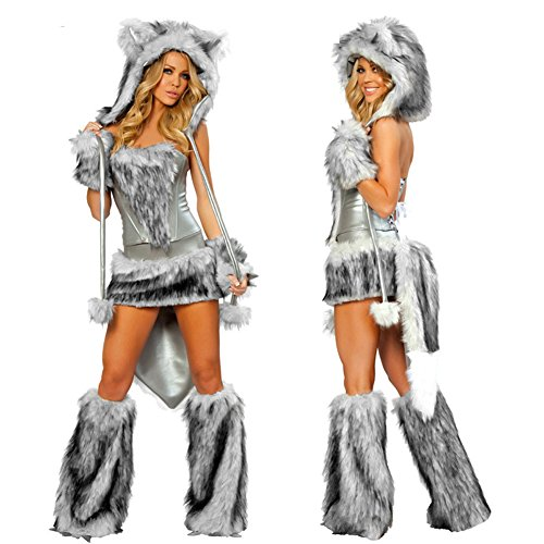 Follow518 Luxury Halloween Night Women Role-playing Costume Nightclub Party Sexy Devil Cat Women Dress 5 Piece Girls Dance Suit Women Stage Costumes