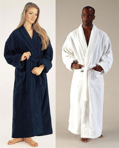 Women's and Men's Bathrobe [Optimal], 100% Cotton, Marine, Small