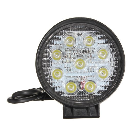 27W 9Led Round Work Spot Pencil Beam Lamp Offroad Light For Truck 12/24V 4Wd 4X4 (2X 27W Work Light)