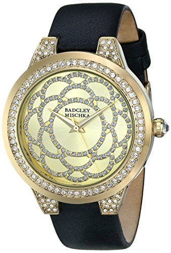badgley-mischka-womens-ba-1330chbk-swarovski-crystal-accented-gold-tone-and-black-leather-strap-watc