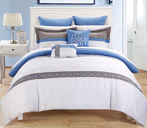 Chic Home Neptune 7-Piece Comforter Set, Queen, Blue front-910850