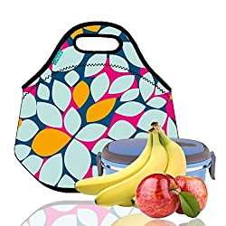 Lunch Tote, OFEILY Lunch boxes Lunch bags with Fine Neoprene Material Waterproof Picnic Lunch Bag Mom Bag (Leaf)