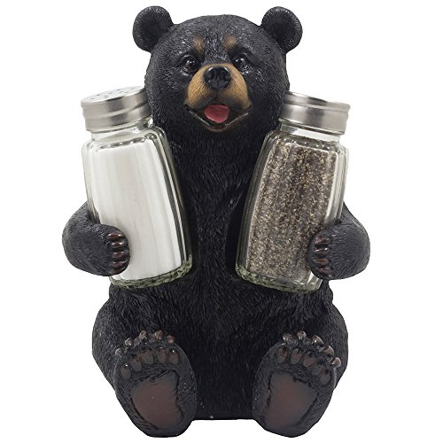 Decorative black bear glass salt and pepper shaker set for Rustic bear home decor