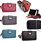 Cellphone holder with internal wallet features PLUS removable wristlet strap- Universal fit for HTC One S/One S C2 : Black