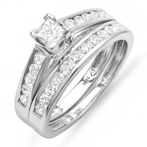 1.00 Carat (ctw) 10k White Gold Princess and Round Diamond Ladies Bridal Ring Engagement Matching Band Set