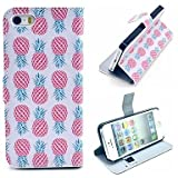LIMME A Lot of Pineapples Pattern PU Leather Case Cover with Stand and Card Holder for iPhone 5/5S