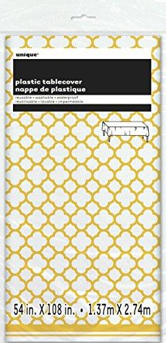 """Quatrefoil Plastic Tablecloth, 108"""" x 54"""", Yellow"""