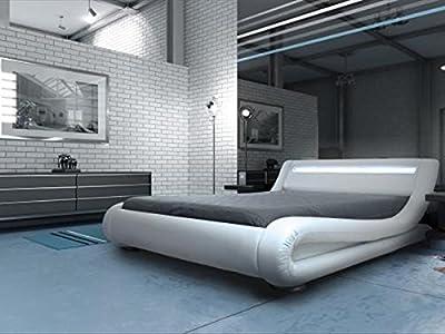 Modern Italian Designer Bed Kingsize Upholstered in Faux Leather, 5ft Rio LED White