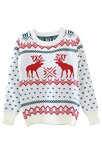 Pink Wind Women Xmas Reindeer Knit Christmas Jumper Sweater Beige