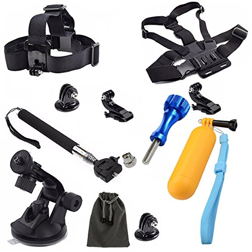 For GoPro Accessories 8 in 1 Kit Head Chest Strap Monopod Pole Floating Handle Grip Pouch
