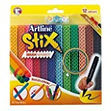Artline Stix Brush Markers 12 Assorted Color Set (Bonus pack) - Calligraphy and Hand-lettering Pens, Build and Draw Connecting Markers